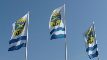 Flaggor med Lovisas kommunvapen.