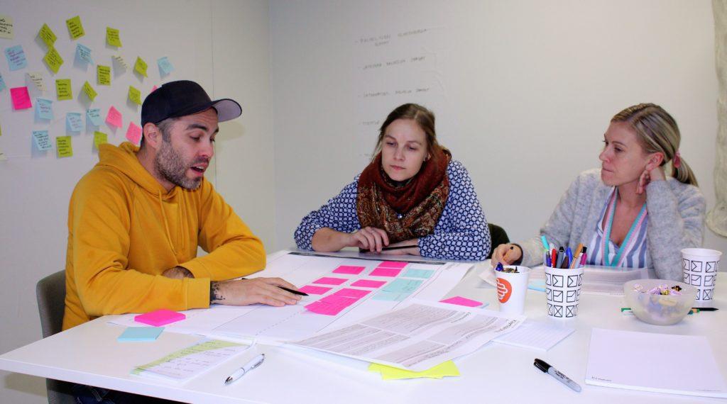 Johan Ekström, socialarbetare, Lotta Toivanen, socialhandledare och Denice Lönnroth, planerare på Ungdomscentralen kartlägger vilka kundgrupper som använder stadens social- och hälsvårdstjänster.