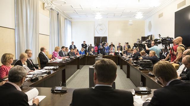 RIksdagens grundlagsutskott. Bilden är från i sommaren 2019.