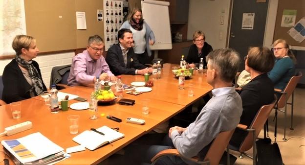 Kommunförbundets svenska team besökte SFP:s fullmäktigegrupp i Esbo i höstas.