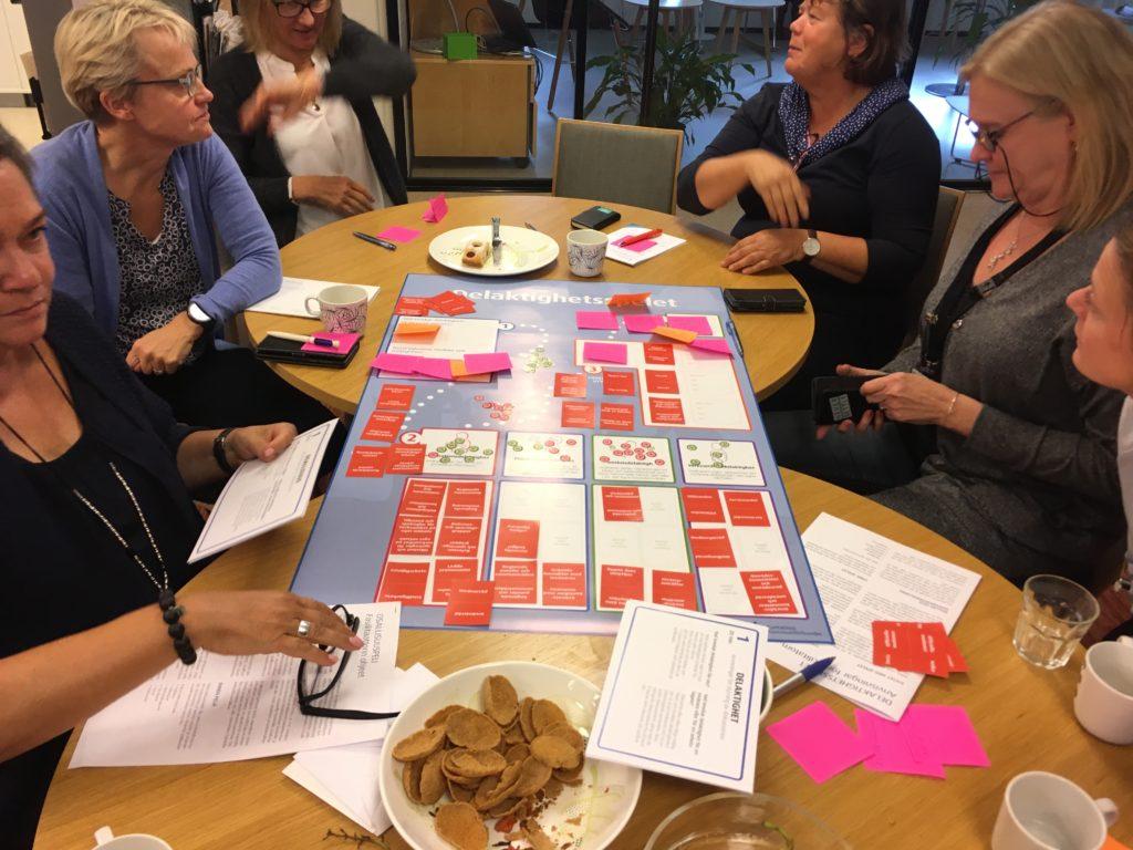 Svenska teamet vid Kommunförbundet blir undervisade i delaktighetsspelet. Foto: Mattias Lindroth