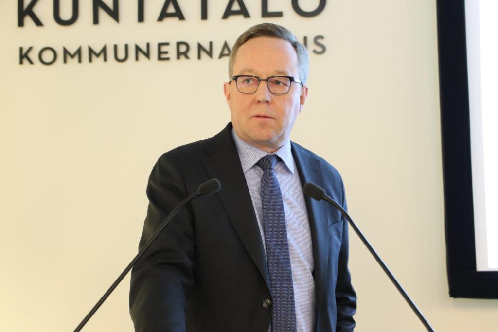 Finansminister Mika Lintilä talade inför Kommunförbundets förbundsdelegation. Foto: Mattias Lindroth