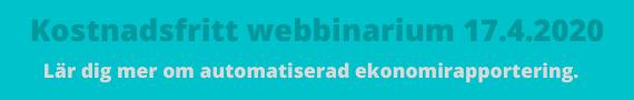 Banner: Kostnadsfritt webbinarium om automatiserad ekonomirapportering.