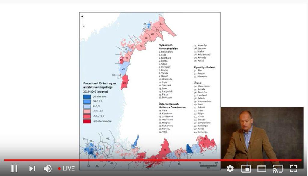 - Den svenskspråkiga befolkningen minskar framför allt på de orter som överlag har befolkningstapp, säger professor Jan Saarela.