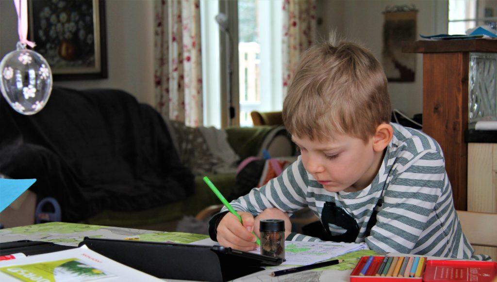 Anton Aholainen går i första klass i Itä-Hakkilan koulu i Vanda och laddar upp sina hemuppgifter på skol-appen Sesame för bedömning. Foto: privat