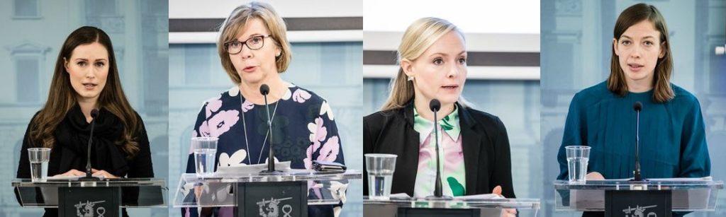 Sanna Marin (SDP), Anna-Maja Henriksson (SFP), Maria Ohisalo (Gröna) och Li Andersson (VF).