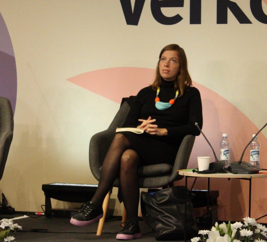 Li Andersson deltog i partiledardebatten på Kommunmarknaden.