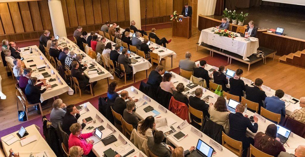 Bilden från Folktingets session i Hangö 2017. Tisdagens extra session ordnades virtuellt.