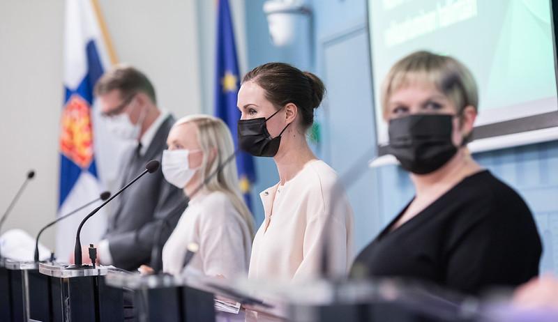 Från vänster: finansminister Matti Vanhanen, inrikesminister Maria Ohisalo, statsminister Sanna Marin och vetenskaps- och kulturminister Annika Saarikko.