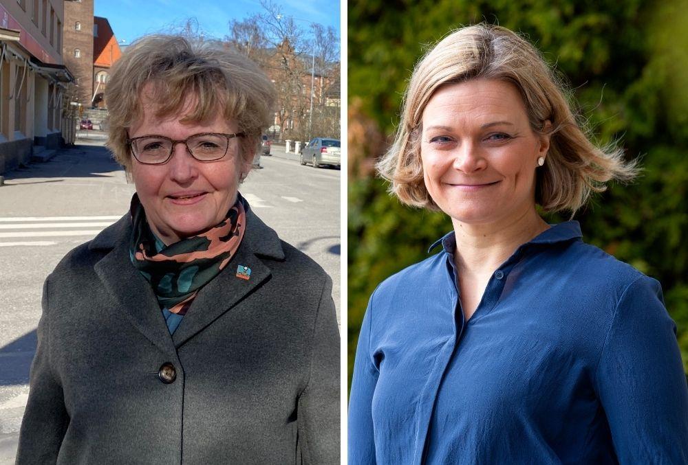 Jakobstads stadsdirektör Anne Ekstrand, t.h., och Kimitoöns kommundirektör Erika Strandberg.