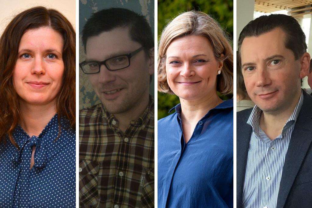 Jenny Malmsten (tv), Christian Dreyer, Erika Strandberg och Jan D. Okerblom tar över ordförandeskapet i nätverket för svensk- och tvåspråkiga kommuner.