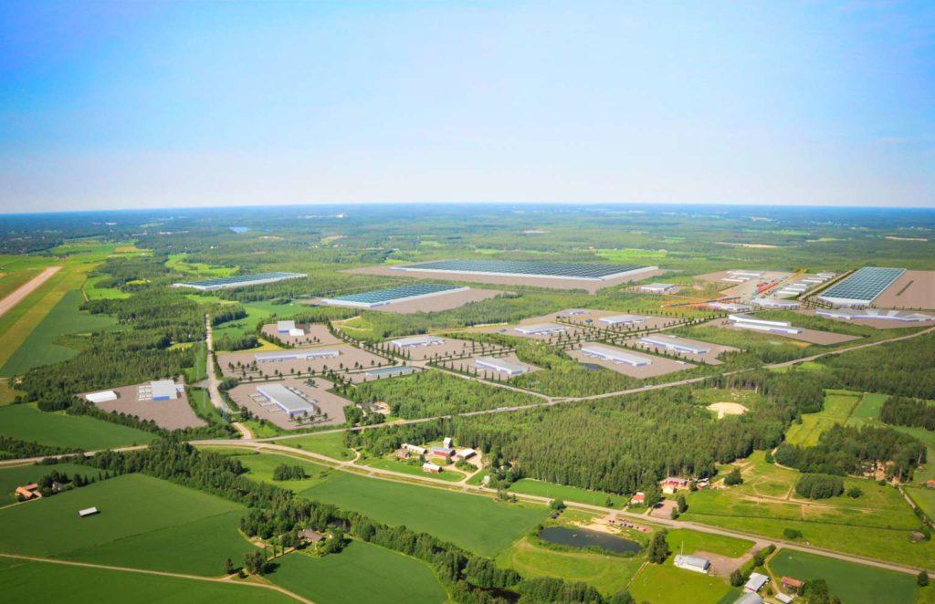 Batterifabriksområdet i Vasa omfattar 340 hektar.