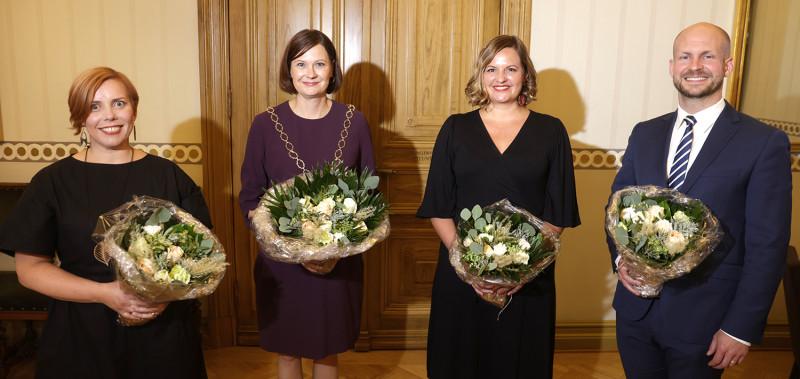 Från vänster: Piia Elo (SDP), Minna Arve (Saml), Elina Rantanen (Gröna) och  Ville Valkonen (Saml).